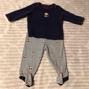 Little Me 2 pc footed monkey outfit